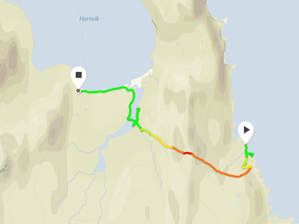 Basic map of the route I took from H The Horn in Hornstrandir from Movescount