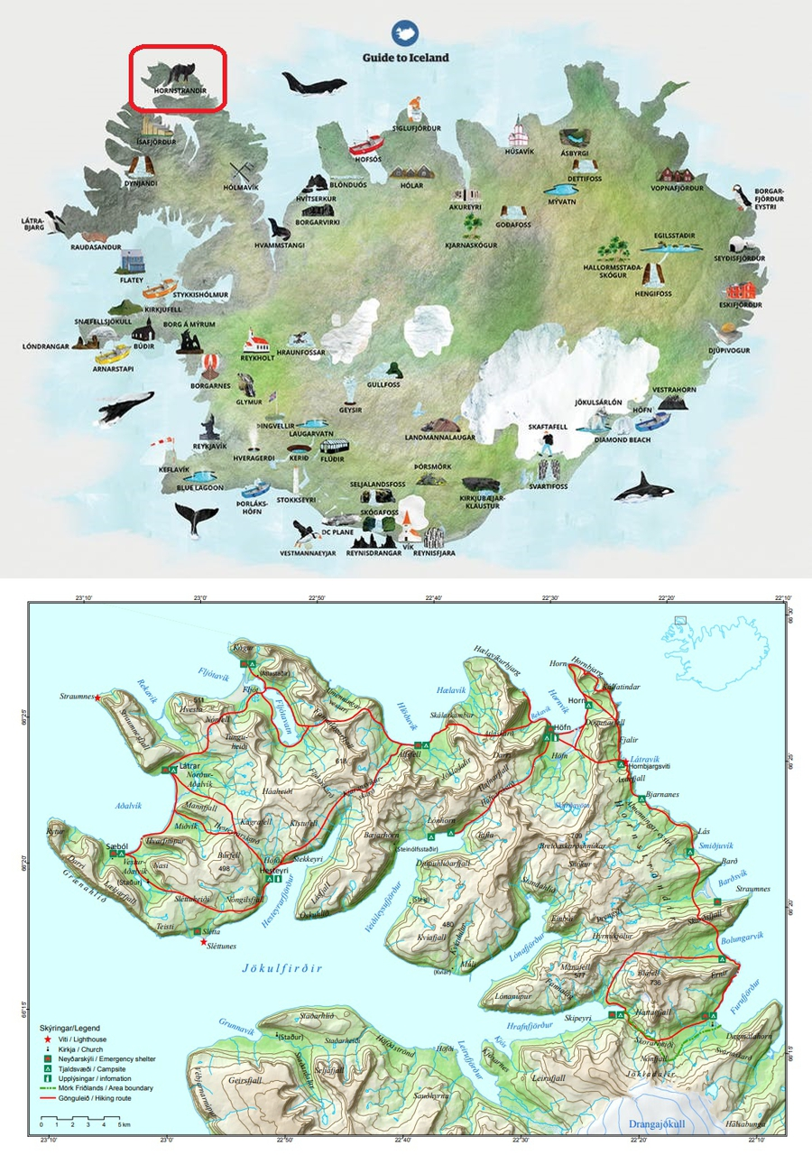 Map of Iceland showing Hornstrandir location, and map of Hornstrandir