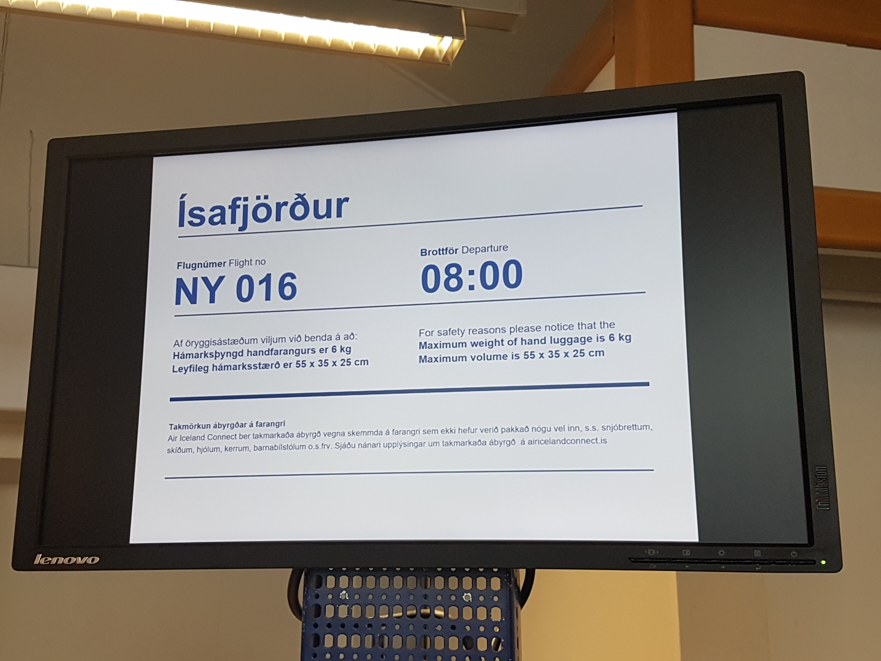 Check-in Notification at Reykjavik domestic airport.