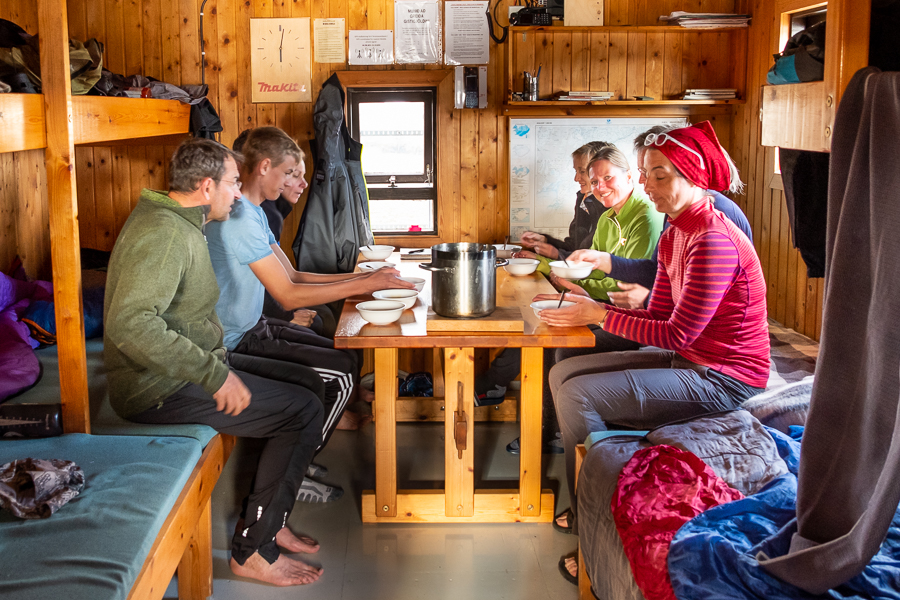 Eating dinner at Egilssel Hut - Day 2 of In the Shadow of Vatnajökull trek - East Iceland