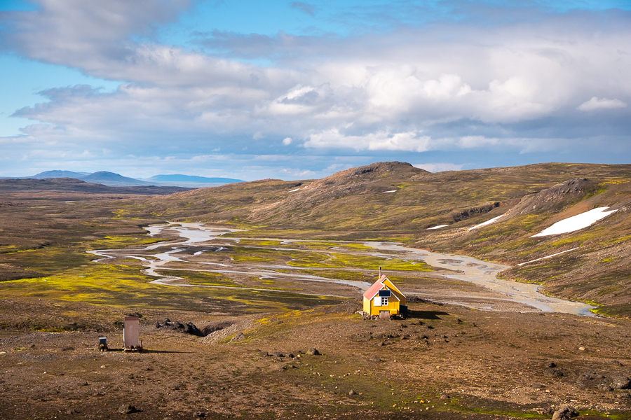 View of hut and river valley from behind - Shadow of Vatnajokull - East Iceland