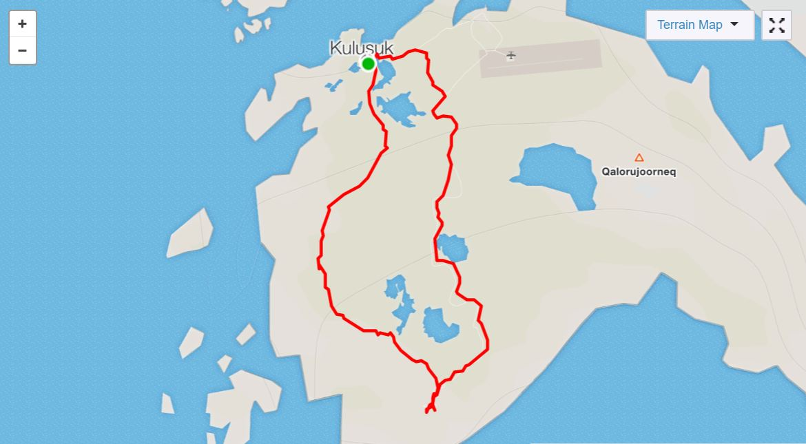 Basic Map of hike to DYE-4 radar station on Day 2 of Icefjords and Remote Villages Trek - from Strava