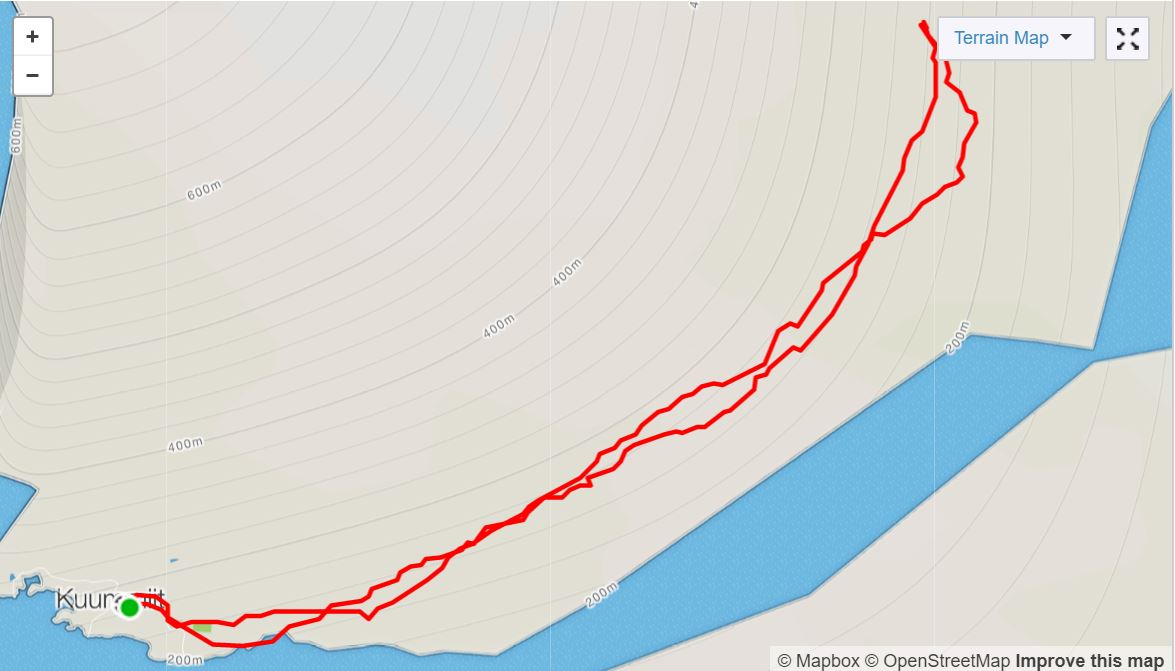 Basic Map of hike to Illitsiartik on Day 4 of Icefjords and Remote Villages Trek - from Strava