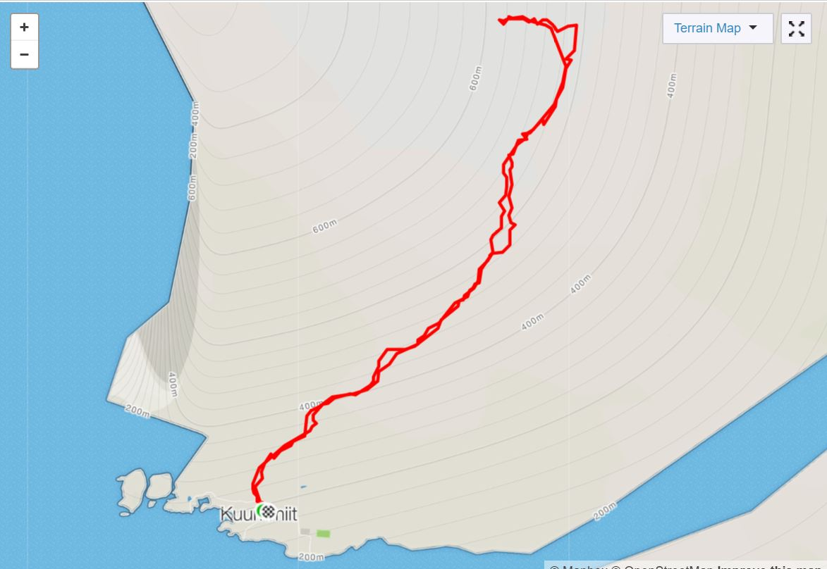 Basic Map of hike to Mt Kuummiut on Day 5 of Icefjords and Remote Villages Trek - from Strava