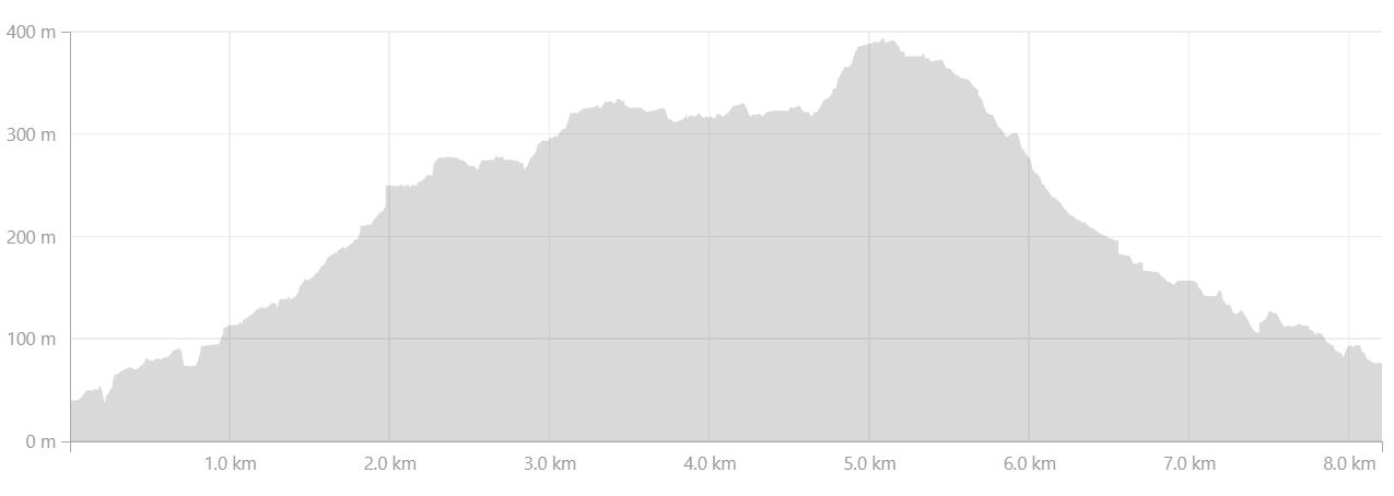 Altitude profile of hike near Tiniteqilaaq on Day 7 of Icefjords and Remote Villages Trek - from Strava