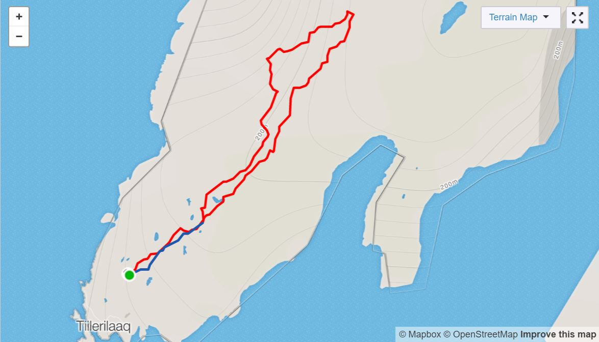 Basic Map of hike near Tiniteqilaaq on Day 7 of Icefjords and Remote Villages Trek - from Strava