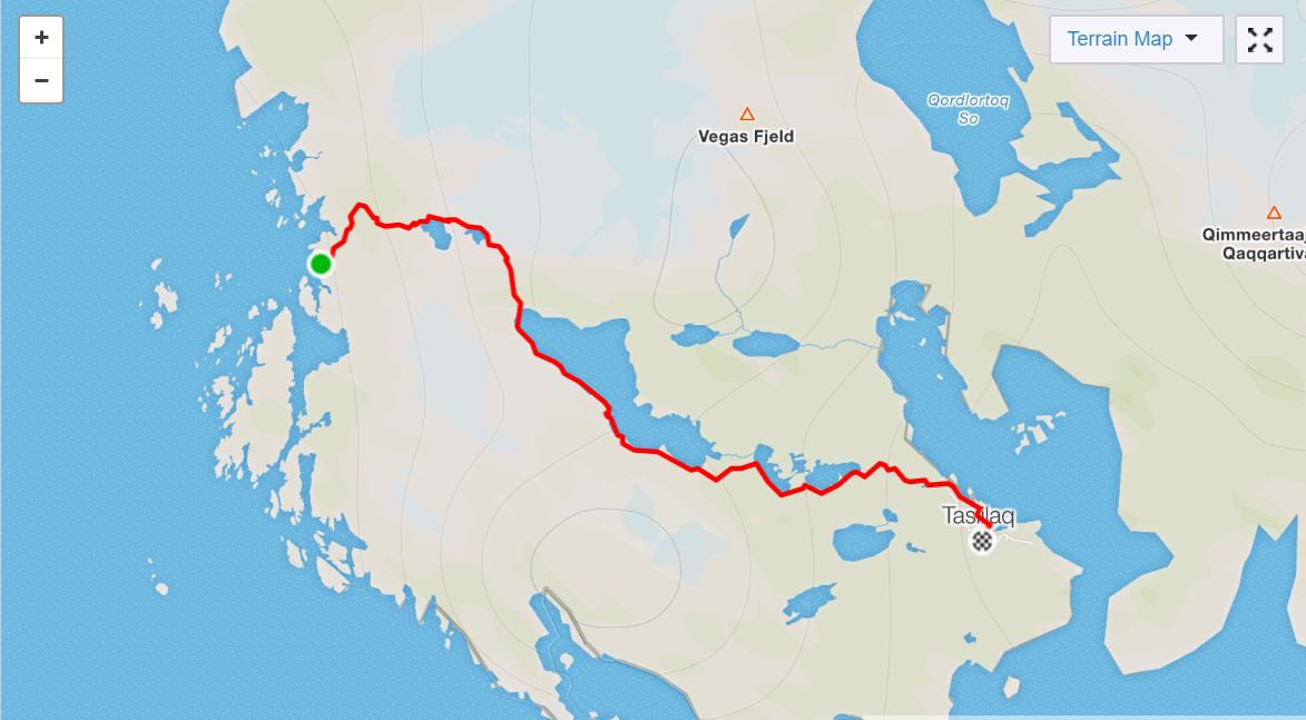 Basic Map of hike to Tasiilaq along the Sermilik Way on Day 8 of Icefjords and Remote Villages Trek - from Strava