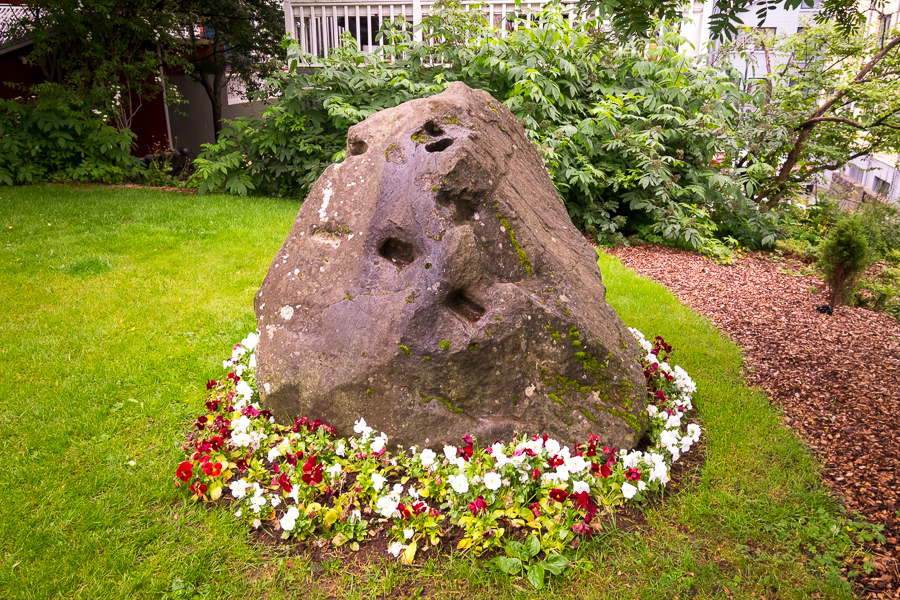 An Elf rock near the centre of downtown Reykjavik