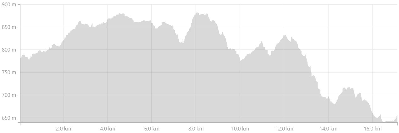 Altitude profile of Day 2 of Shadow of Vatnajokull from Strava