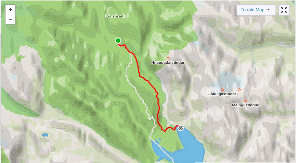 Basic Map of Day 4 of In the Shadow of Vatnajokull - from Strava