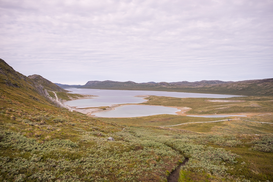 Aajuitsup Tasia lake as seen from the trail ascending the hill in front of the Russell Glacier, Kangerlussuaq, West Greenland