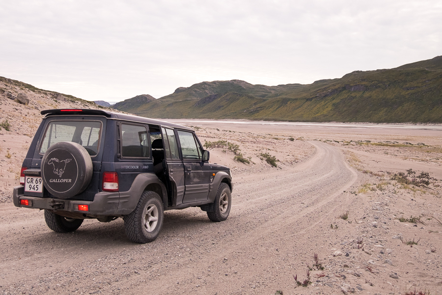 Our 4x4 jeep on the road to the Russell Glacier