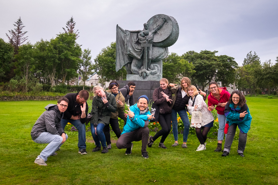 Our Icelandic Mythical Walk group having fun with the group photo