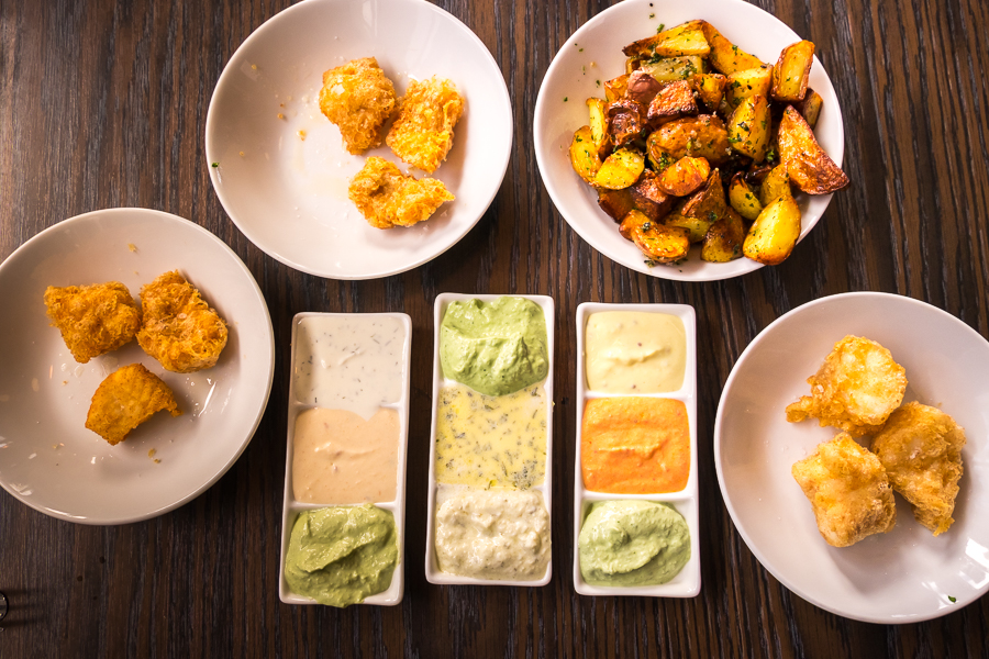 Fish and chips with 9 different sauces