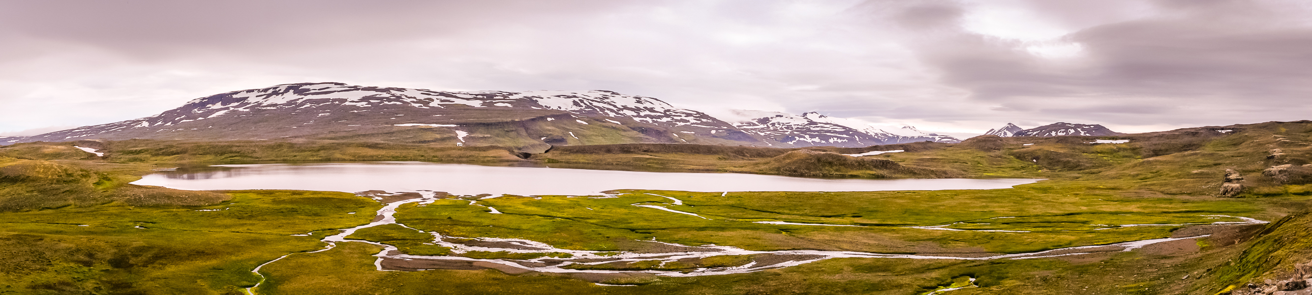 Panoramic view over lake in front of Egilssel Hut - Day 2 of In the Shadow of Vatnajökull trek - East Iceland