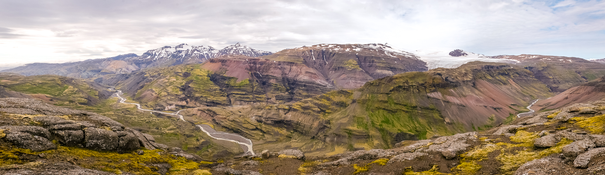 Panoramic view valley below Tröllakrókar - Day 3 of In the Shadow of Vatnajökull trek - East Iceland