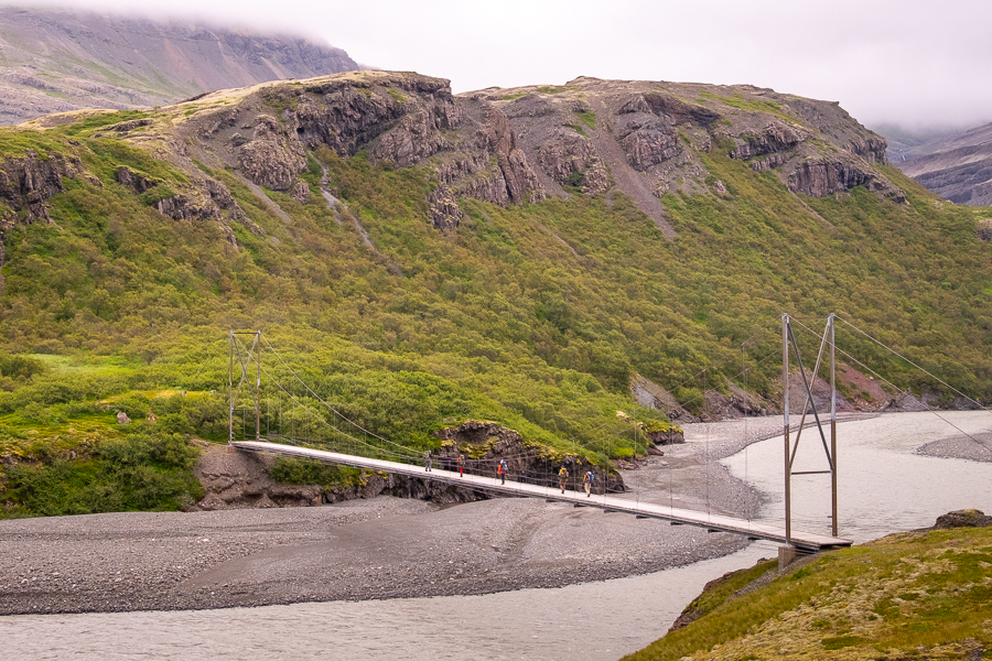 Final river crossing - with a bridge - Day 4 of In the Shadow of Vatnajökull trek - East Iceland