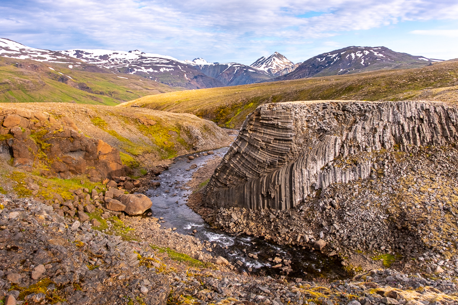 Columnar Jointing along the river at Egilssel Hut - Day 2 of In the Shadow of Vatnajökull trek - East Iceland