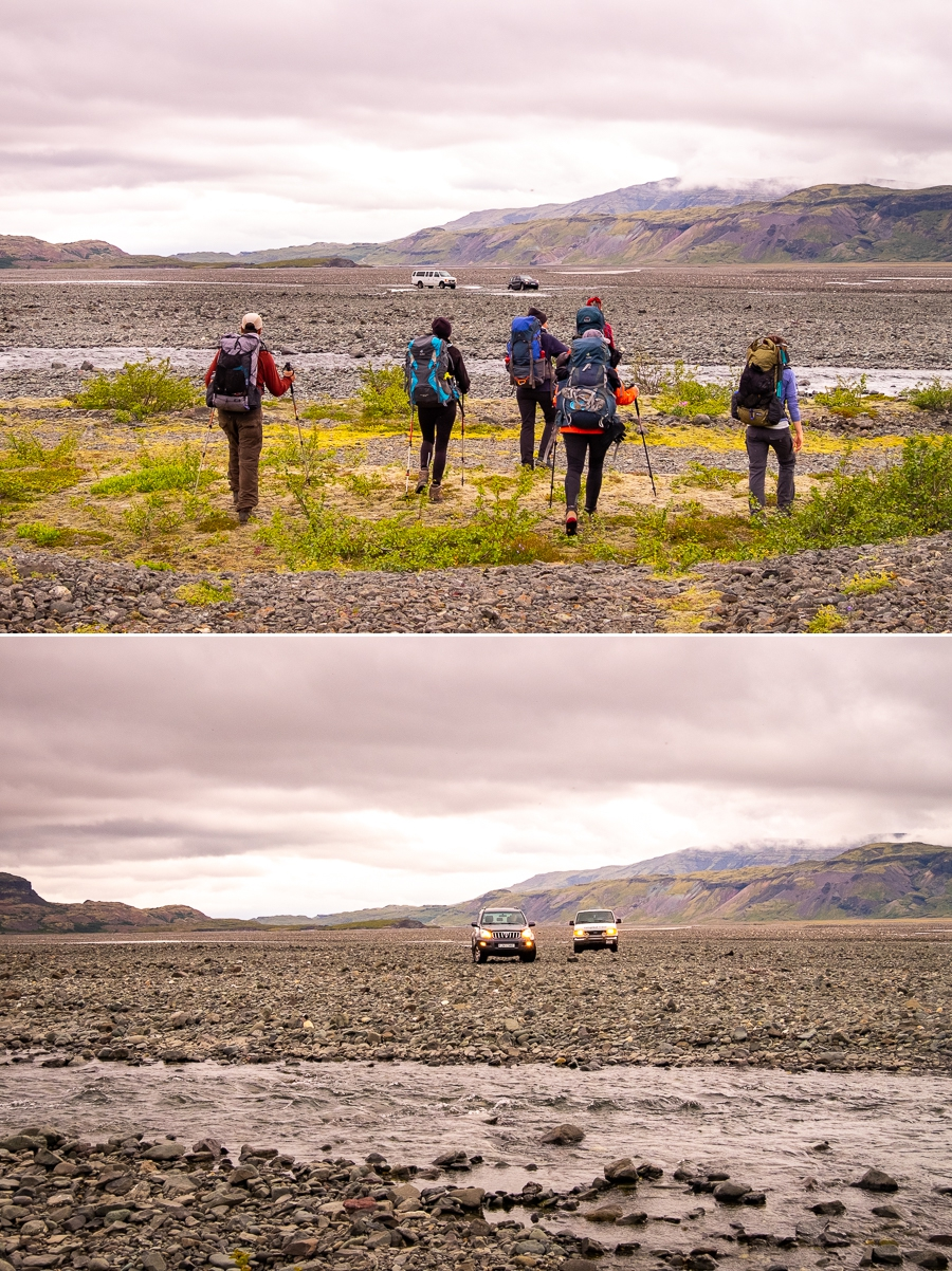 Hiking towards the super-jeeps in the river delta - Shadow of Vatnajökull - East Iceland