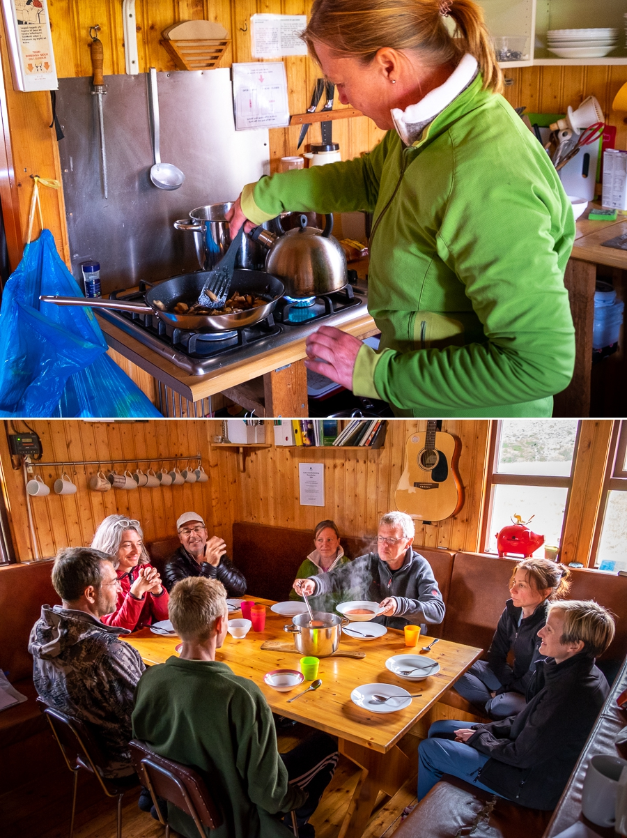 Cooking wild mushrooms and eating dinner at Múlaskáli Hut - East Iceland