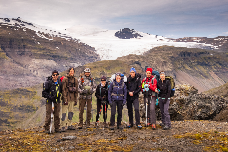 Group photo taken at Tröllakrókar on Day 3 of In the Shadow of Vatnajökull trek - East Iceland