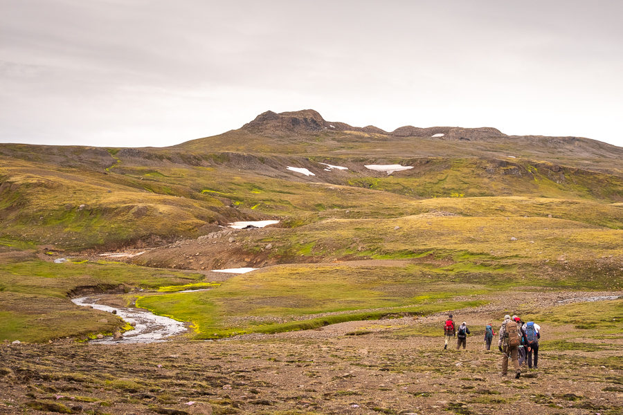 Climbing towards the ridge on day 3 of the Shadow of Vatnajökull trek - East Iceland