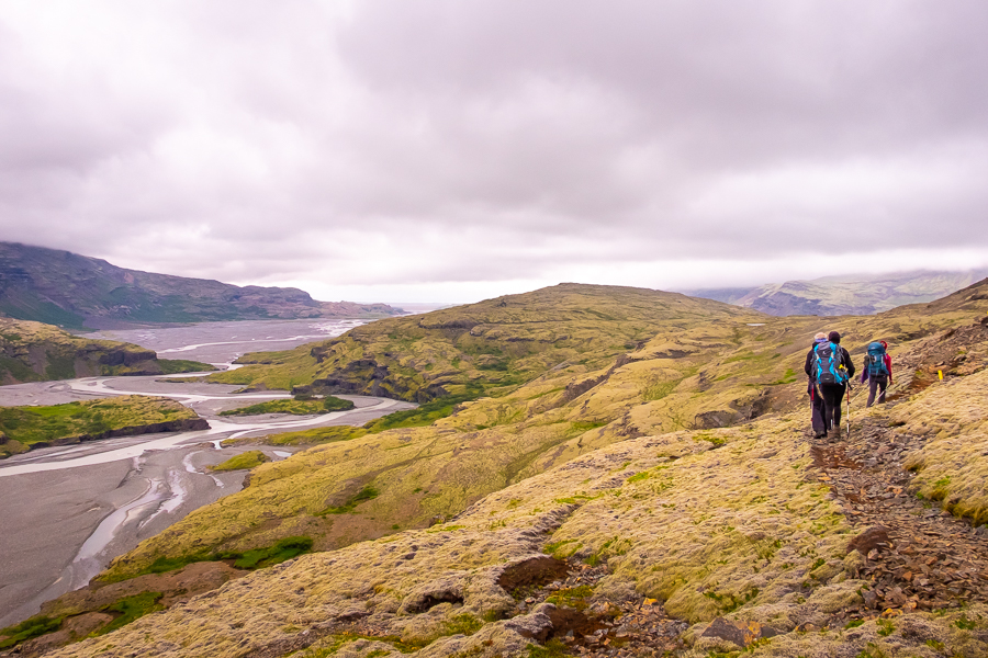 Hiking along the river delta on day 4 of Shadow of Vatnajökull trek - East Iceland