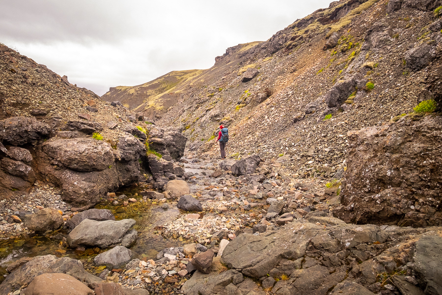 Hiking along a stream on Day 4 of Shadow of Vatnajökull trek - East Iceland