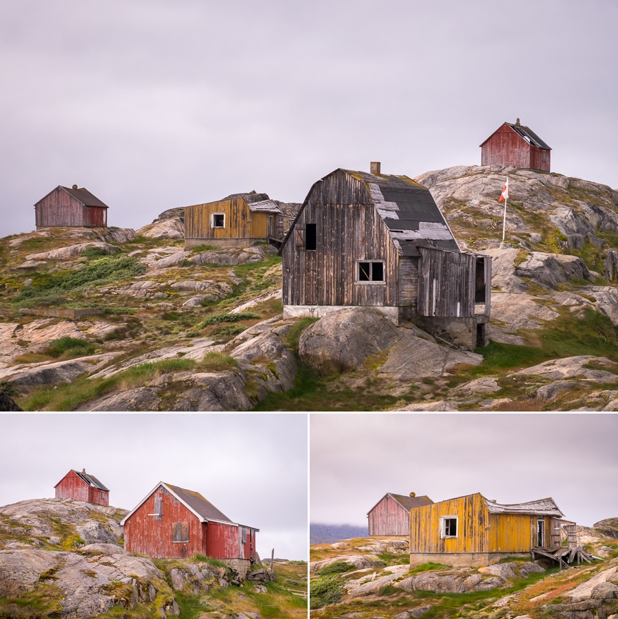 Several photos of the faded exterior of derelict houses in Assaqutaq near Sisimiut, West Greenland