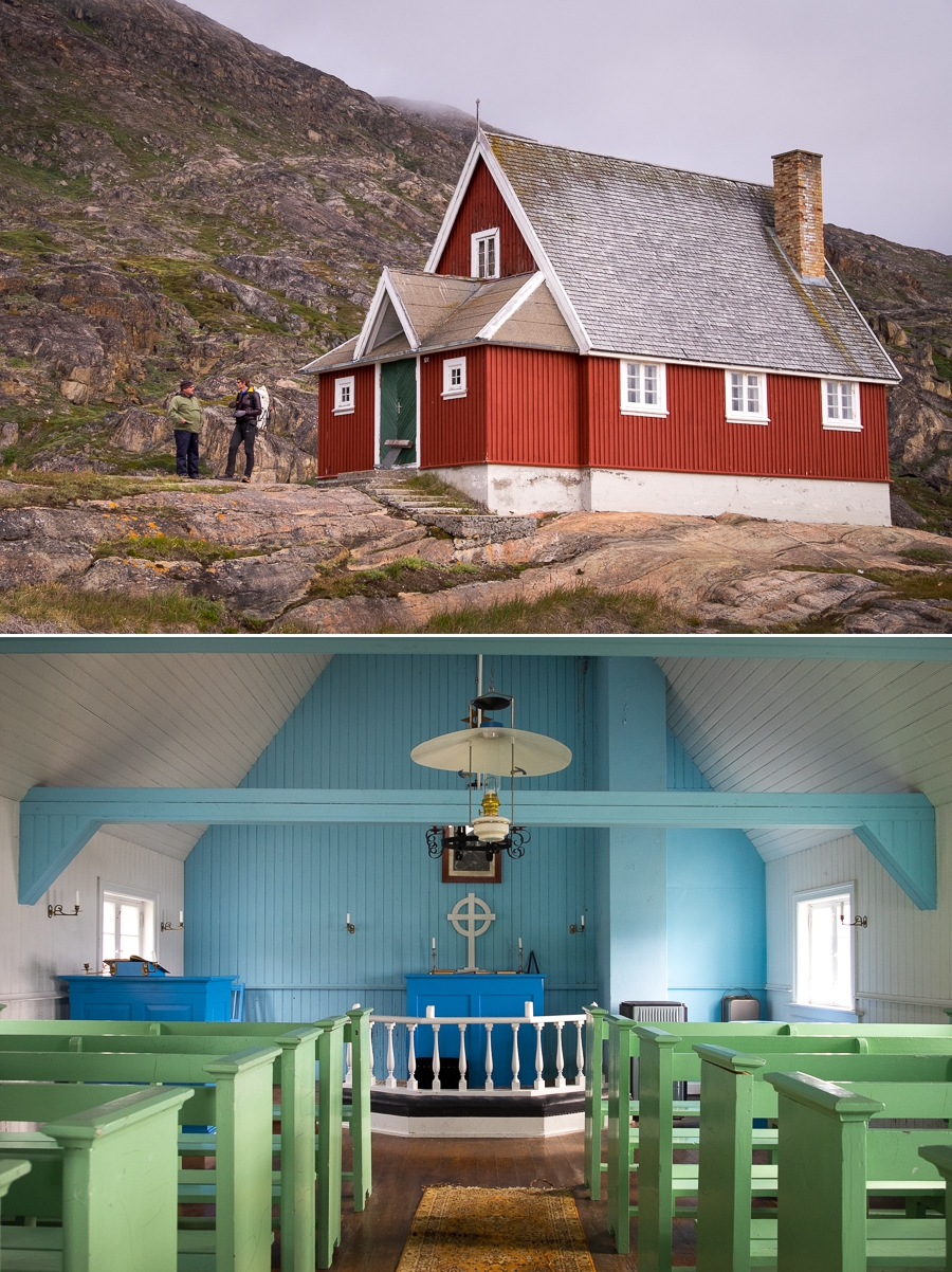 Images of the exterior and interior of the refurbished church at Assaqutaq near Sisimiut, West Greenland