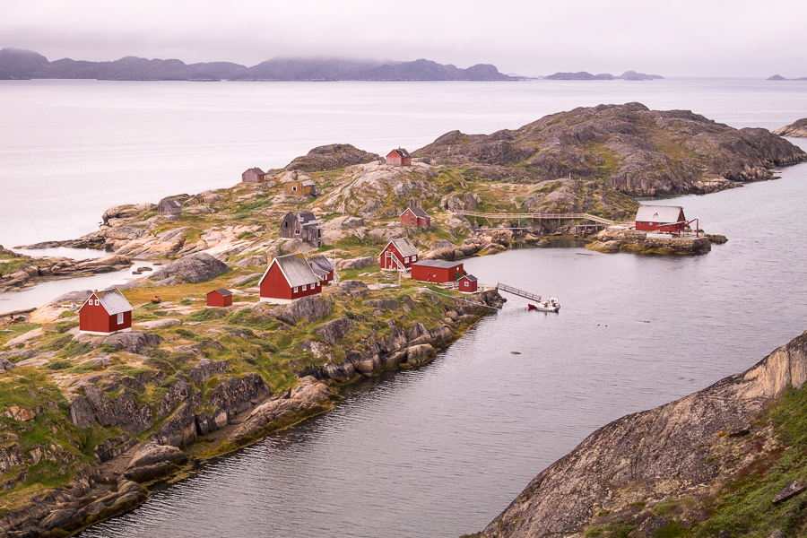 View from on high back down over the abandoned settlement of Assaqutaq - near Sisimiut, West Greenland
