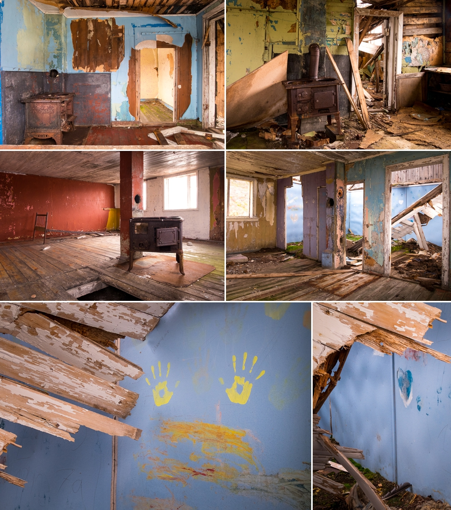 Several images of the interiors of the abandoned houses in Assaqutaq near Sisimiut, West Greenland