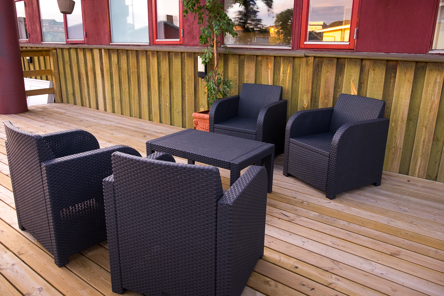 Places to relax and cool off on the back deck of the Hotel Sisimiut, West Greenland