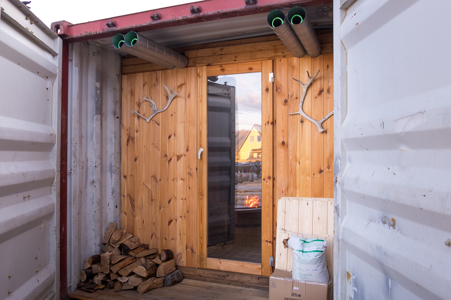 Entryway to the Arctic Sauna at the Hotel Sisimiut in West Greenland