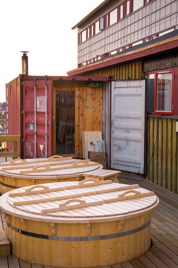 Hot tubs and sauna on the back deck of the Hotel Sisimiut in West Greenland