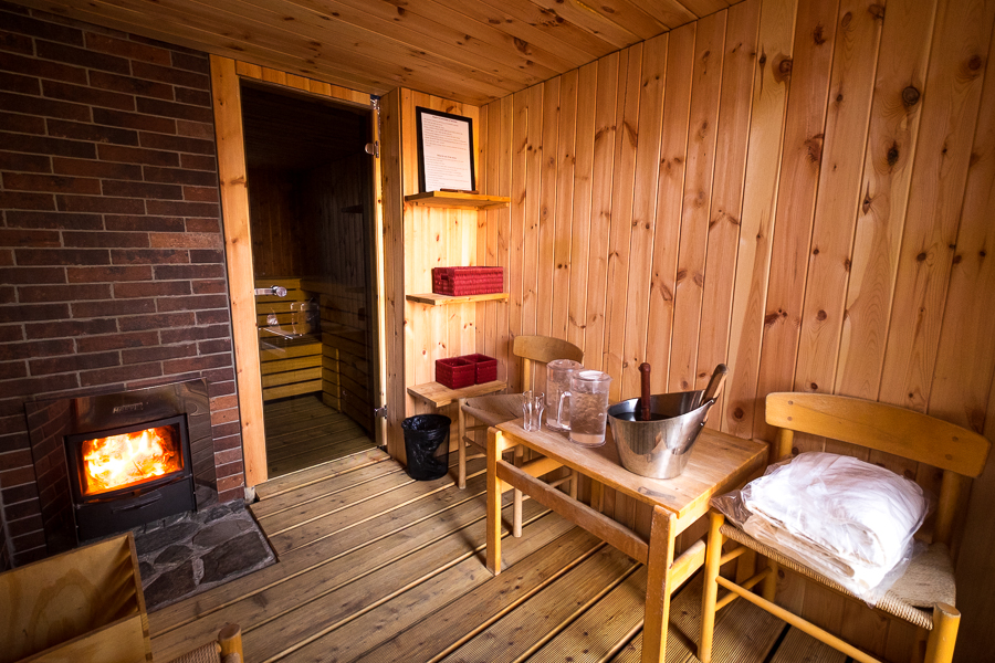 Wood-lined ante-room of the Arctic Sauna at the Hotel Sisimiut - West Greenland