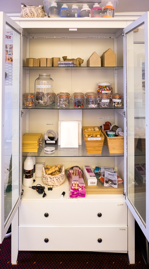 Image of the full cupboard of materials you can choose to work with in the Hotel Sisimiut create your own memories workshop - West Greenland