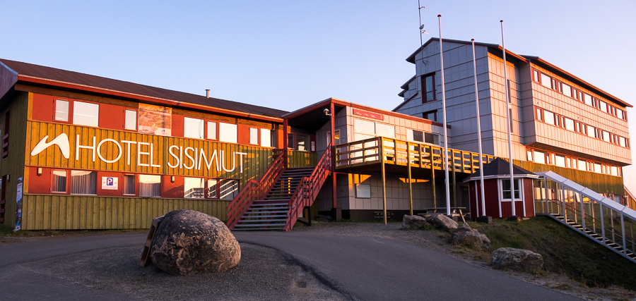 Front of the Hotel Sisimiut at dusk - West Greenland