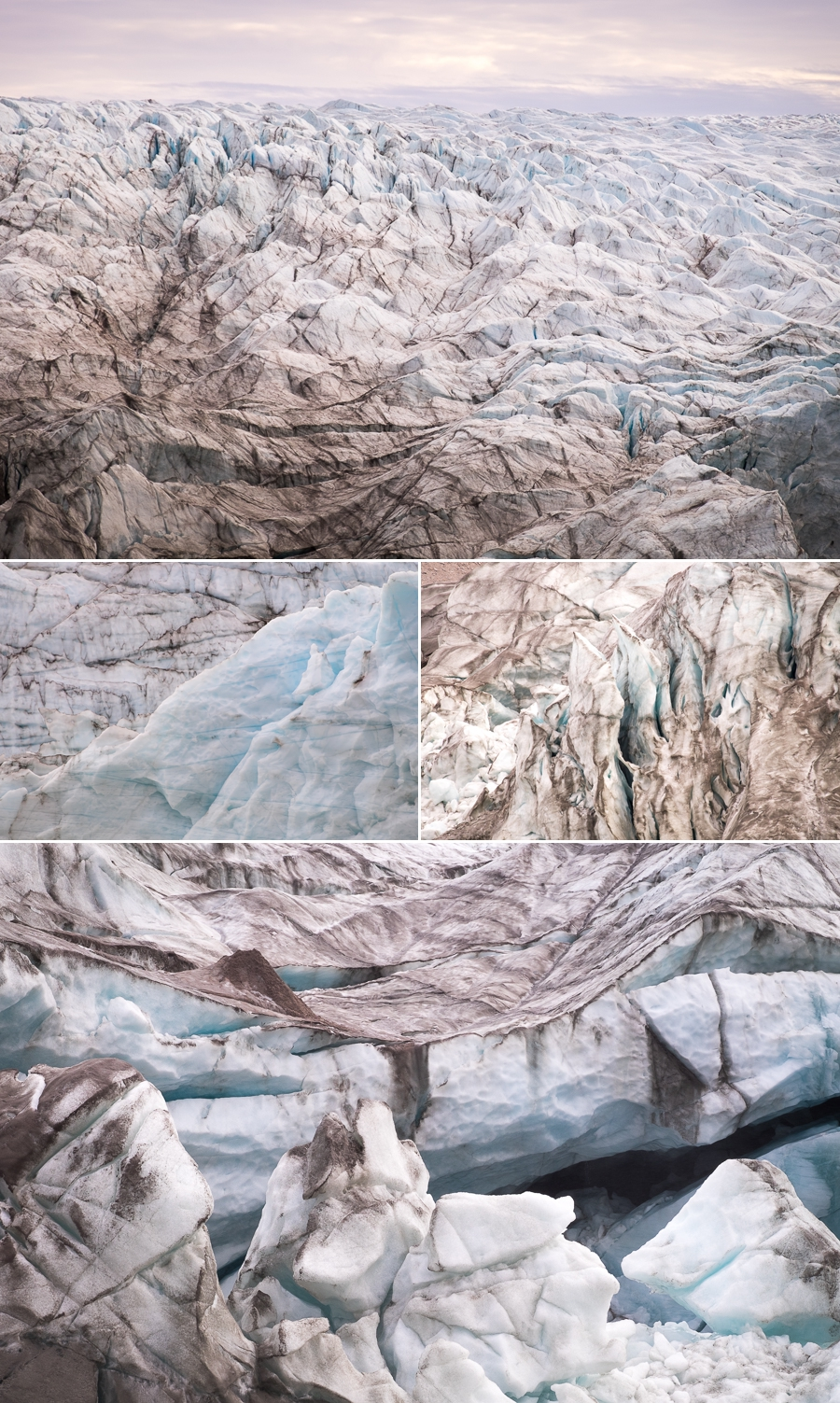 different views of the ice making up the Russell Glacier near Kangerlussuaq in West Greenland
