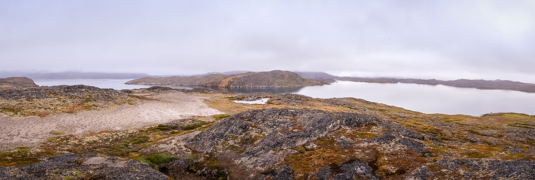 Panorama from the top of Nipisat Island near Sisimiut in West Greenland