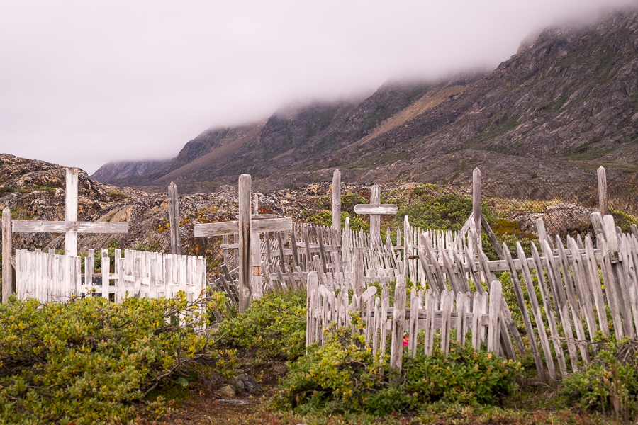 Wooden crosses and paling fences around the graves at Assaqutaq cemetery near Sisimiut - West Greenland