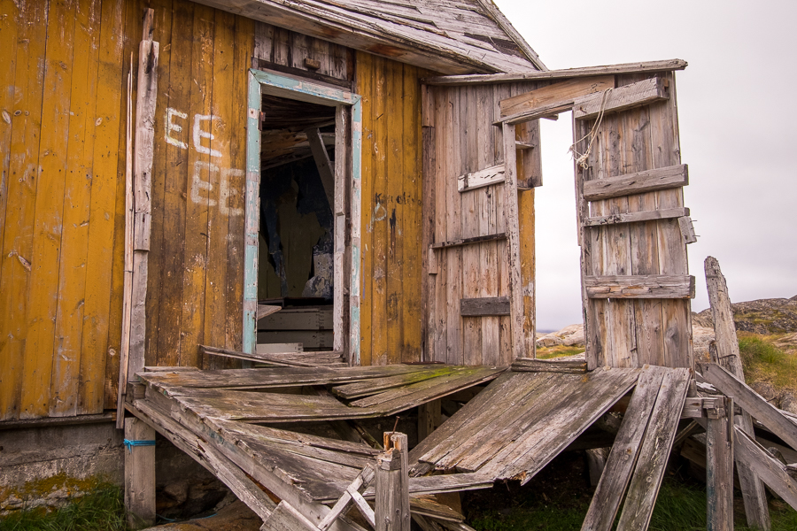 Derelict porch of a house in Assaqutaq near Sisimiut - West Greenland