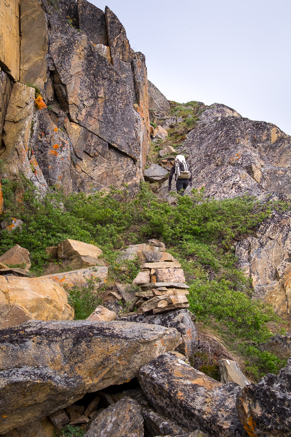 My friend climbing the almost vertical slope to get to the trail - Assaqutaq, West Greenland