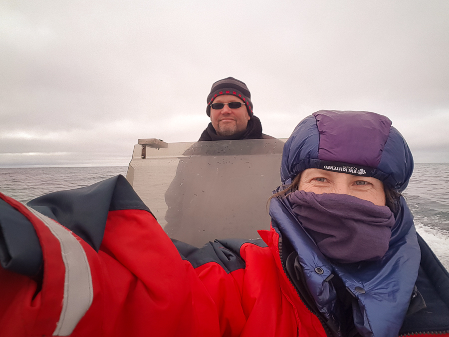 Me in a freezer suit on the boat with Jan - Sisimiut - West Greenland