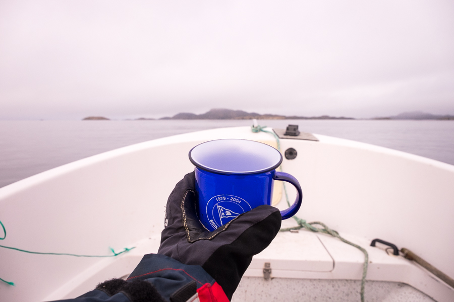 my gloved hand holding a cup of hot tea on the boat - Sisimiut - West Greenland