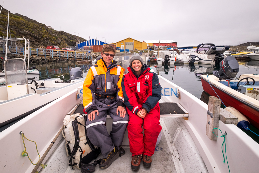 My friend and I in freezer suits ready for out boat outing - Sisimiut, West Greenland