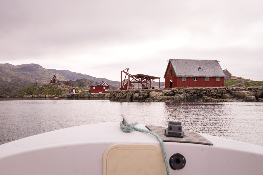 front of the boat with the buildings of Assaqutaq in front of us - Sisimiut - West Greenland