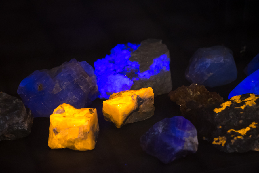 Fluorescent minerals at the rock and mineral collection in Sisimiut, West Greenland