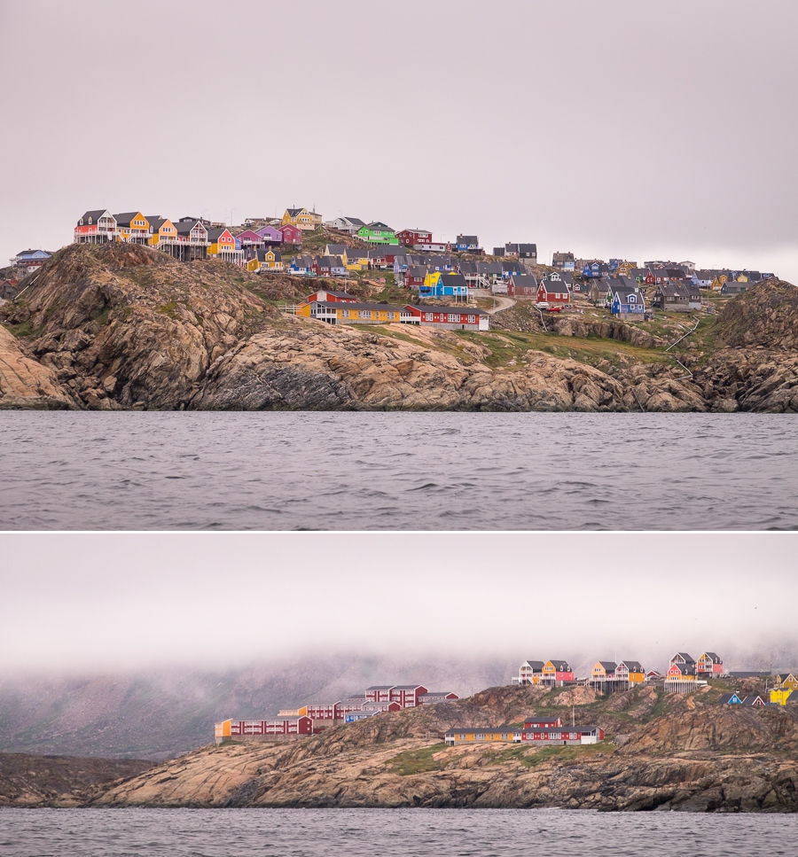 The colourful houses of Sisimiut as seen from the water - West Greenland