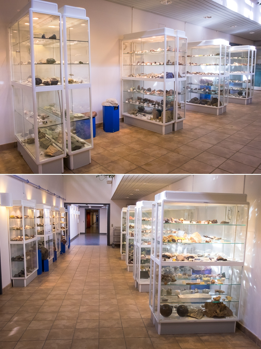 Image of the many display cases at the rock and mineral collection in Sisimiut, West Greenland